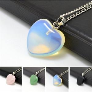 Quartz Stone Gemstone Heart Rock Natural Healing Point Chakra Pendant Necklace