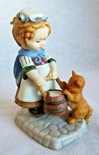 Vintage 1984 Amanda Franklin Mint porcelain figurine collectible cat bucket girl