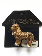 New Posh Pooch Pins Pin Brooch Irish Water Spaniel Dog Austrian Crystals