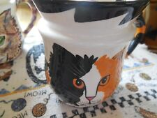 Cats By Nina *1 Blk,White & Orange With Orange Eyes Coffee Cup* Porcelain