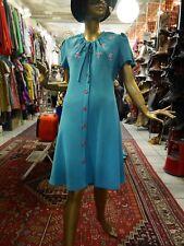 Kleid M Sommerkleid türkis Blumen-Stickerei 60er Hippie TRUE VINTAGE 60s dress