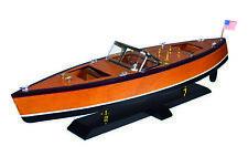 Modellboot amerikanischen Motorboots aus Holz braun schwarz Motorbootmodell boot