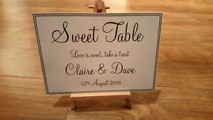 **A3/A4/A5 Personalised Sweet Table Wedding Sign - White or Ivory **