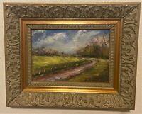 Original Signed Oil on Board Painting - River Road Landscape - K. Rutledge