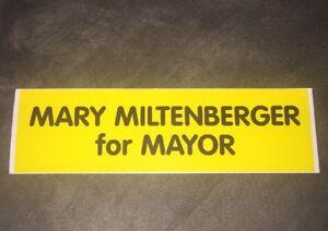 Mary Miltenberger for Mayor sticker - Cumberland Maryland Politics