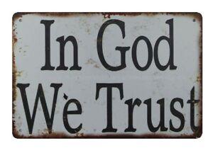 retro home decor In God We Trust metal tin sign