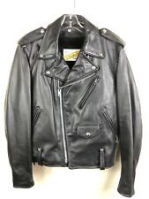 SCHOTT NYC Perfecto Black Leather Biker Motorcycle Jacket - 40 Med USA Made -EUC