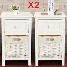 Pair of Shabby Chic White Bedside Tables Drawers with Wicker Storage Cabinet