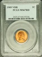 1909 VDB 1C Lincoln Wheat Cent PCGS MS 67 RD Uncirculated Superb Gem Beauty 9346