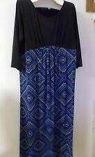 Bob Mackie Wearable Art Sz XLP Maxi Dress Blue & Black