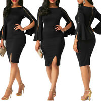 Women Bandage Bodycon Casual Club Mini Dress Flare Sleeve Evening Party Cocktail