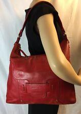 KATE SPADE,Large Red  Leather,Hobo Shoulder Bag Front Flap Logo,Pocket
