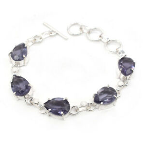"Gorgeous Amethyst Quartz Gemstone Silver Plated Jewelry Bracelet 7.5"" G306"