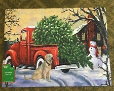 NEW Christmas Vintage Little Red Truck Outdoor Door Mat Rug  NEW