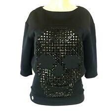 Philipp Plein Couture Skull Sweatshirt Black Top Blouse Shirt Embellished XS