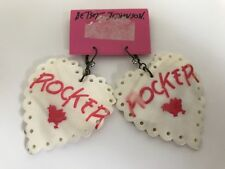 NWT Auth Betsey Johnson Vintage Pink Rocker Chick Heart Shell Statement Earrings