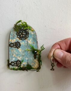 Fairy Door with Crystal Door Knob. Tiny Keys Included.Sealed for Outdoors
