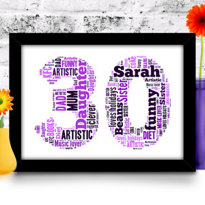 Personalised Birthday gift 16th 18th 21st 30th 40th 50th 60th A4 word art print