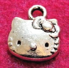 20Pcs. Tibetan Silver Kitty CAT Face Charms Pendants Earring Drops Findings C07