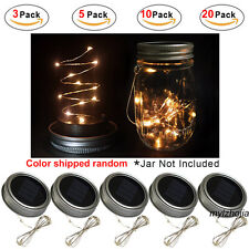 20 Pack LEDs Fairy Light Solar Mason Jar Lid Lights Garden Decor Fast Shipper UK Warm White 10 Pack