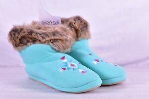 Women's Kensie Pull On Natural Fur Cuff Slipper Boots , Mint Blue, L (9 / 10)