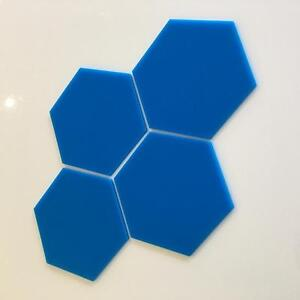 "Bright Blue Acrylic Hexagon Crafting Mosaic/Wall Tiles Sizes 1cm-20cm, 1""-7.9"""