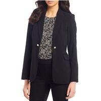Calvin Klein Womens Peak Lapel Pearl Button Blazer Jacket Size 2 Black NWT