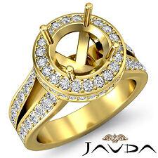 Diamond Engagement Semi Mount Ring 14k Yellow Gold Halo Set Split Shank 1.3Ct