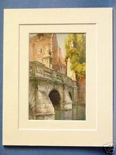 ST. JOHN'S COLLEGE WREN'S BRIDGE CAMBRIDGE VINTAGE DOUBLE MOUNTED HASLEHUST PRNT
