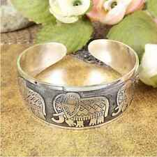 Women Carved Lovely Elephant Bracelet Silver Tone Totem Wide Opening Bangle