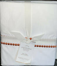 New~Pottery Barn Pearl Embroidered Dot Sheet Set~KING~Orange White