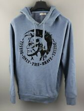 Diesel Only The Brave Graphic Print Blue Hoodie Size L