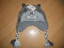 Mothercare  Boys Kids Winter Trapper Hat, monster style grey new 3-6 months