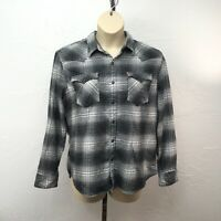 Levi's Womens XL Flannel Long Sleeve Black White Plaid Snap Front Collar Pockets