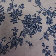 Cream Linen Blend Canvas Fabric with Wedgewood Blue Rose Design (Per Metre)