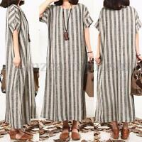 Fashion Women Autumn Loose Shirt Dress Short Sleeve Batwing Long Maxi Dress Plus