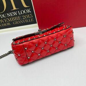 Women's Leather Rivet Handbag Shoulder Bag Chain Messenger bag Silver 20CM