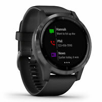 New Garmin Vivoactive 4 Black 45mm GPS Enabled Smartwatch 010-02174-11 + More