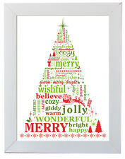 shabby and Chic Christmas Xmas Framed Wall Art Picture Wall Hanging Decoration 2