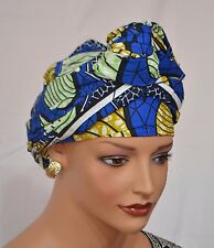 African Head Wrap Tribal Scarf Gele. Stylish Headwear Made Of Ankara Blue Fabric