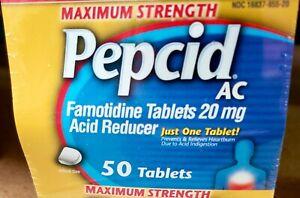 NIB Maximum Strength Pepcid AC All-Day Heartburn Relief Treatment BIG 50 ct Tabs