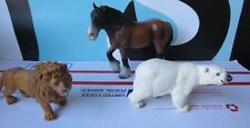 Schleich Lot of 3 Animals PVC Horse Lion Polar Bear