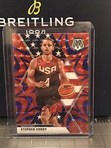 2019-20 Panini Mosaic Blue Reactive Prizm Stephen Curry TEAM USA Card Steph