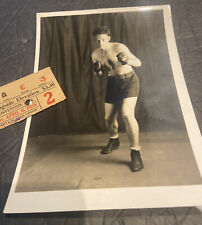 1934 PHILADELPHIA PA BOXING~4/6/34 CONVENTION HALL RINGSIDE TICKET & PROMO PHOTO