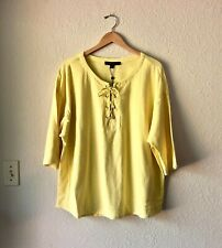 NWT Tommy Hilfiger Yellow Summer Blouse with 3/4 Sleeves Plus Size 1X