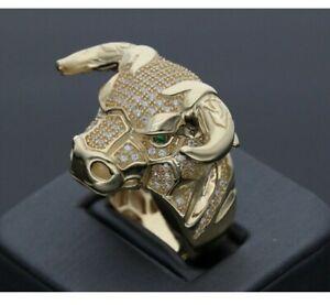 2Ct Round Cut Diamond & Green Emerald Men's Bull Head Ring 14K Yellow Gold Over