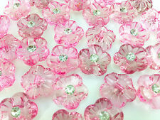 NEW 15pcs/60pcs plum blossom rhinestone Transparent Acryl Sewing Button 15mm