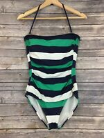 Tommy Bahama Women's Size 10 Green Blue White Stripes Print Swimwear One Piece