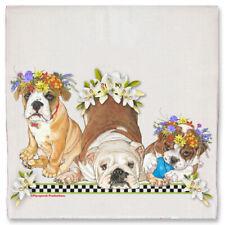 Bulldog Dog Floral Kitchen Dish Towel Pet Gift