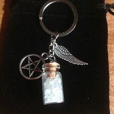 SUPERNATURAL PROTECTION *KEY RING CHAIN* ANGEL WING PENTAGRAM SALT BOTTLE +POUCH
